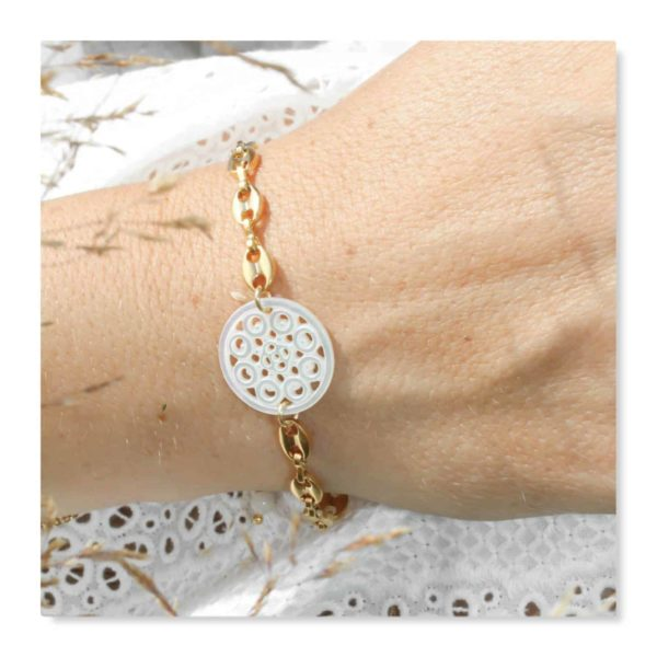 Bracelet nacre doré
